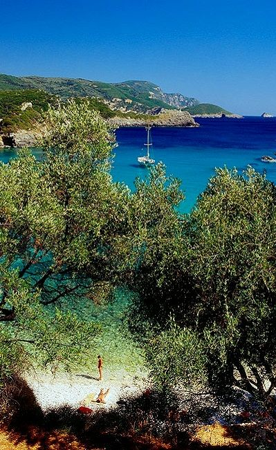 Paleokastritsa_view towards the bay, Corfu Island, Greece