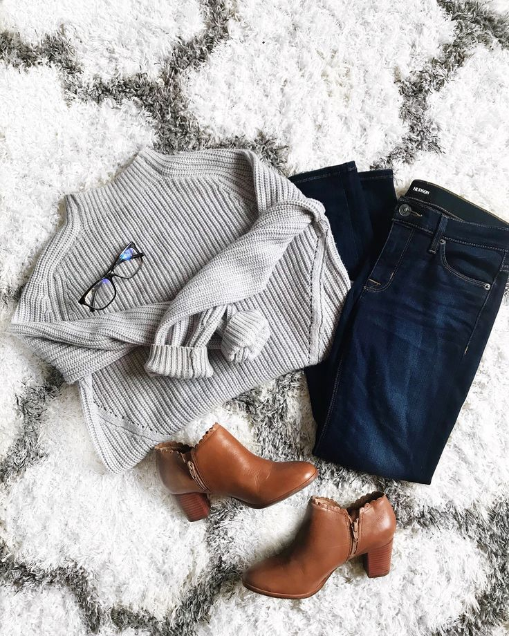 Grey sweater fall flay lay with Hudson jeans and scalloped booties and glasses! The perfect fall comfy outfit by fashion blogger daily dose of charm via Instagram