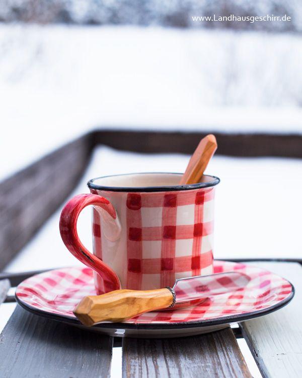Picknick ♥ Kaffeegeschirr in rot-weiss kariert. Handgearbeitetes Geschirr aus Keramik im Landhausstil aus Italien.