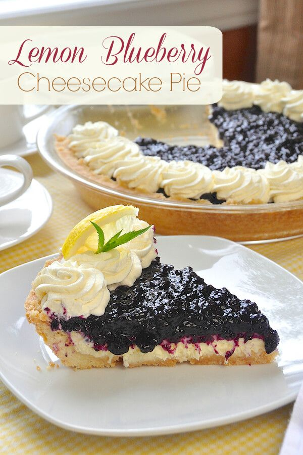 Lemon Blueberry Cheesecake Pie - a terrific make-ahead dessert combining two very complementary flavors. Perfect for Sunday dinners or special occasions.