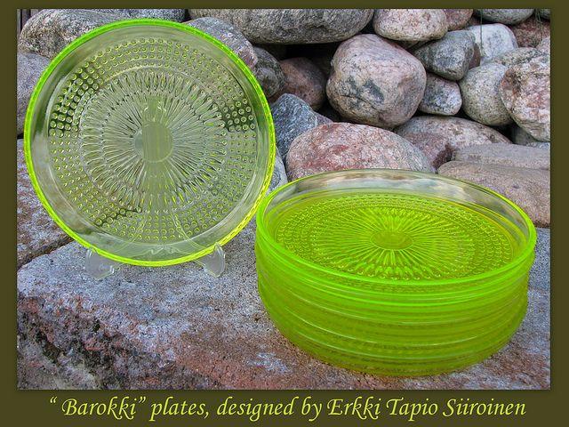 RIIHIMÄEN LASI, Barokki plates 8pcs, designed by Erkkitapio Siiroinen