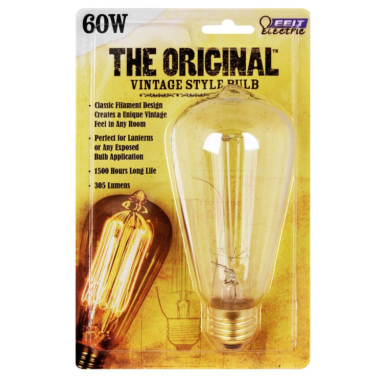 Feit Electric 60-Watt Medium Base (E-26) Soft White Dimmable Decorative  Incandescent Light Bulb BP60ST19. Vintage ...