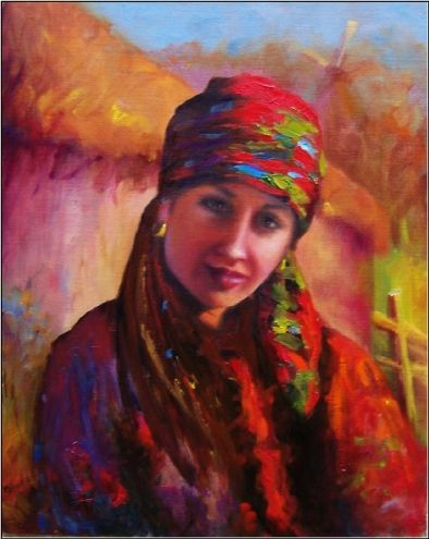 Ukrainian+Girl+in+Native+Costume,+16x20,+oil+on+linen.+ethnic+art,+portraits+of+beautiful