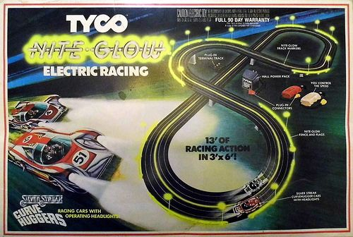 Vintage Tyco Nite Glow Electric Racing Slot Car Set With Silver Streak Curve Huggers Racing Cars With Operating Headlights, No. 8828, Copyright 1977.