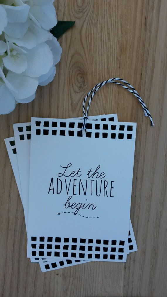 Jumbo GIFT TAG  Let the Adventure Begin 3 pack  by LuLaPaperGoods