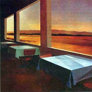 """Three Tables, 1993, oil on canvas, 50 by 50 inches. Above all else, Register's paintings--permeated with a pristine quality of light and rich colors--reveal an artist who recognized with an unerring eye the existential essence of scenes from everyday life. Often compared with Edward Hopper, Register commented, """"With Hopper you witness someone else's isolation; in my pictures, I think you, the viewer, become the isolated one."""""""