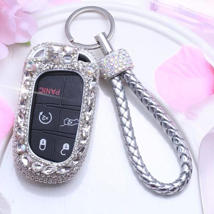 Bling Jeep Dodge Opened Back Key Fob Cover With Rhinestones For Cherokee Wrangler Silver Jeep Cherokee Accessories Jeep Compass Accessories Jeep Accessories