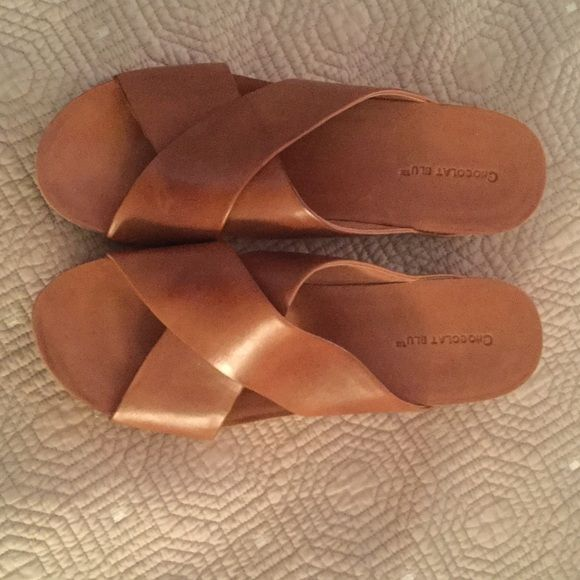 Camel wedge sandals with crossover straps. Brand new size 10 Chocolat Blu camel colored wedge. Chocolat Blu Shoes Wedges
