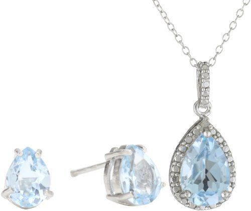 """Sterling Silver Genuine Diamond and Blue Topaz Pendant Necklace and Earrings Set Amazon Curated Collection. $40.00. Has one Point of Genuine Diamond with 17 Facets and 3 Beautiful Pear Shaped Blue Topaz stones. Length of necklace: 18"""", Length of earring: .3"""", Width of pendant: .4"""", Width of earring: .2"""". Made in Thailand. Save 40%!"""
