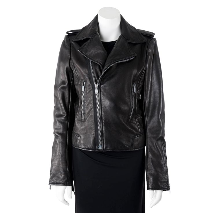 A Balenciaga Black Leather Biker Jacket.Balenciaga's biker jacket is a timeless investment you'll treasure forever. Cut for a close fit, this piece is crafted from supple lambleather and has an asymmetric zip fastening and matt ...