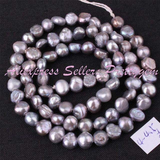 """Natürliche Grau Süßwasserperle Barock Edelstein Perlen Strang 14,5 """"Für DIY Halskette Armband Schmuckherstellung, Freies Verschiffen"""