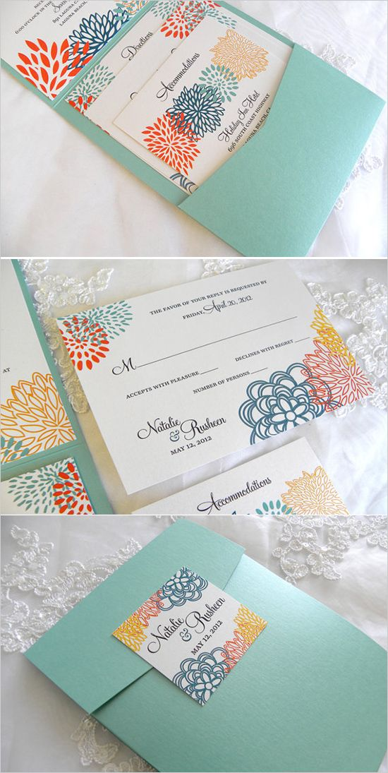 Super cute turquoise and folding floral invitation suite. Stationery: Citlali Creativo --- http://www.citlalicreativo.com/