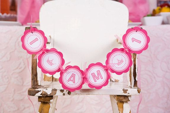 Pink Princess Theme I AM 1 Mini Banner - Happy 1st Birthday Party Decorations in Pink - Princess Crown. $10.00, via Etsy.