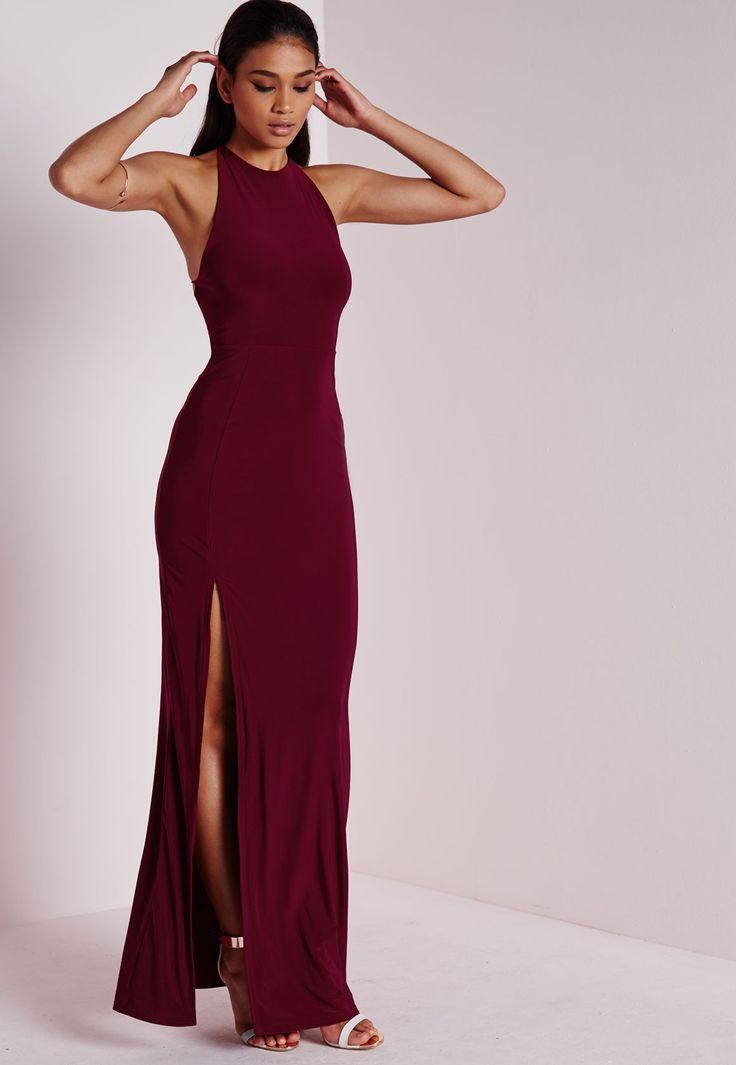 Slinky Side Split Maxi Dress Burgundy - Dresses - Maxi Dresses - Missguided                                                                                                                                                                                 More