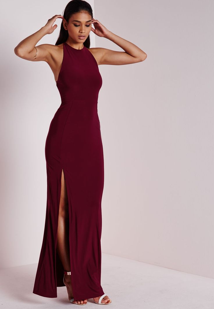 Missguided - Robe longue fluide fendue bordeaux