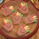 handprint cookie turkeys- I'd get a turkey shaped cookie cutter and use these colors.