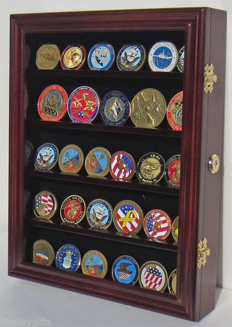 LOCKABLE Military Challenge Coin Display Case Rack Wall Cabinet, COIN30-MAH