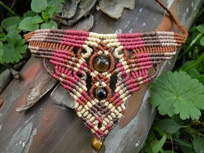 Colorful Jewelry Gemstone Necklace Tribal Bohemian Desing This colorful tribal style macrame necklace created using the macramé technique. It is made by a high quality dark brown, deep brown, dark red and beige waxed threads. Also, we use a Tiger eye beads to complete design.