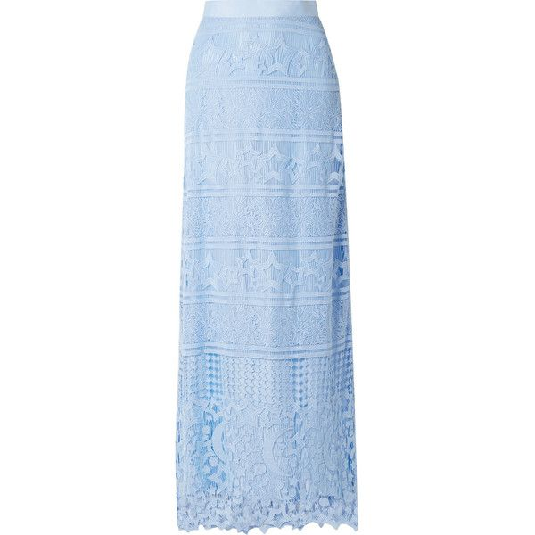 Miguelina Asher grosgrain-trimmed guipure lace maxi skirt (3 085 SEK) ❤ liked on Polyvore featuring skirts, lace maxi skirt, light blue maxi skirt, print skirt, lace skirts and long print skirt