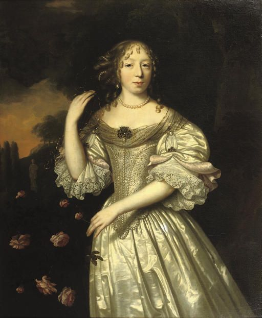 Pieter Nason (Amsterdam c. 1612-c. 1689 The Hague)  Portrait of a lady, three-quarter-length, in a silver silk dress decorated with pearls, standing in a park landscape near a bush of roses signed and dated 'P. Nason. f 1671' (lower right)
