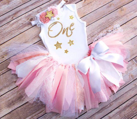 Twinkle Twinkle Little Star Fabric Tutu Onesie Birthday Outfit by FlyAwayJo - Buy it Now!