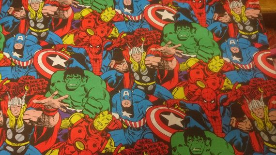 Marvel Fabric Comic Book and Large Characters Hulk Thor