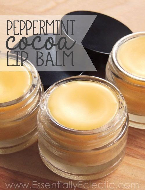 Peppermint Cocoa Lip Balm   www.EssentiallyEclectic.com   This homemade peppermint cocoa lip balm is easy to make, great for your lips and much more affordable than store-bought balm!