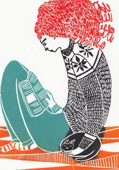 Sunday linocut by Hannah Forward