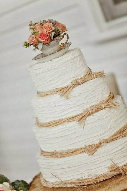 rustic wedding charm - love the teacup posy on top and raffia details