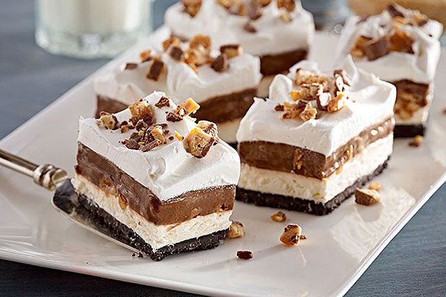 Five luscious layers of cookie crumbs, cream cheese, candy bars, chocolate pudding and COOL WHIP add up to one incredible no-bake dessert.