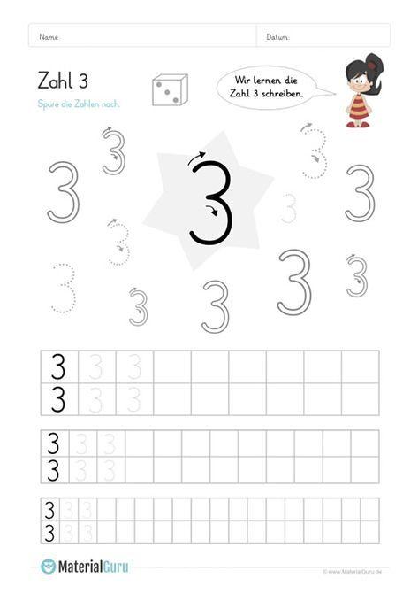 Ein kostenloses Mathe-Arbeitsblatt zum Schreiben lernen der Zahl 3 ...