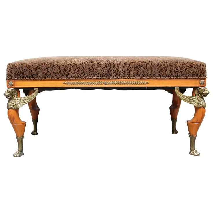 French Empire Style Mahogany and Bronze Banquette