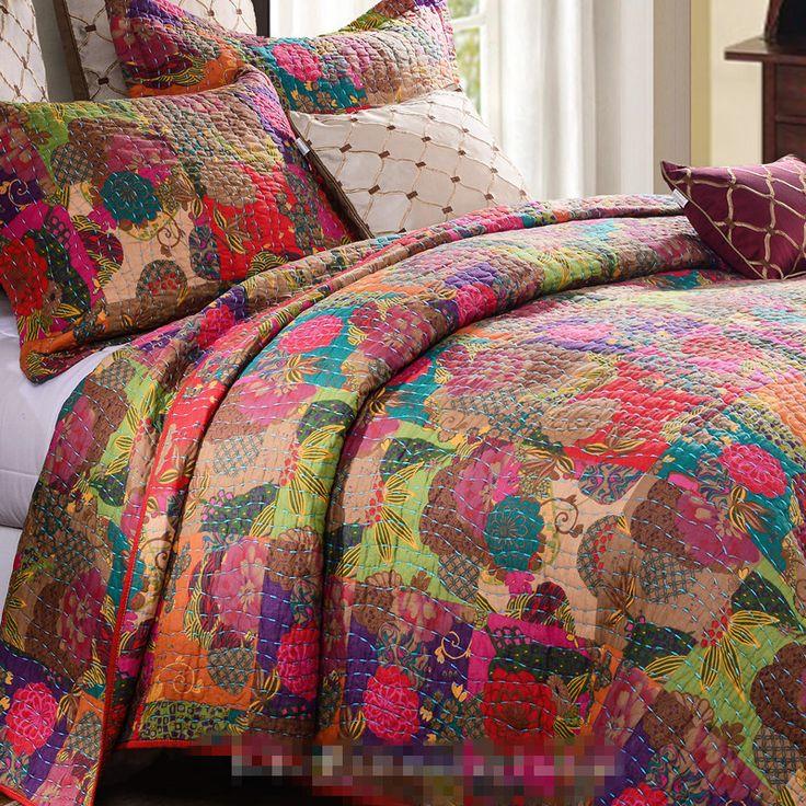 Exportação de luxo em estilo Americano bordado applique patchwork quilt completa queen size 3 pcs jogo de cama/colcha Frete Grátis em Conjuntos de cama de Home & Garden no AliExpress.com | Alibaba Group