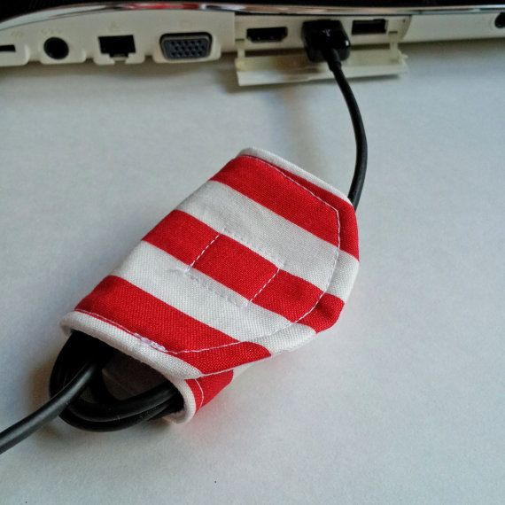 Set of 2 Cord Keepers - Red & White Stripes