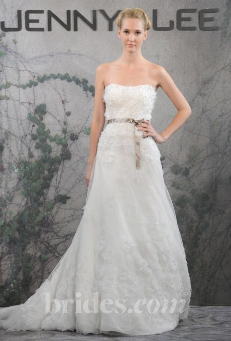 Brides.com: Jenny Lee - Fall 2013 Style 1317, strapless embroidered tulle and organza A-line wedding dress with a sweetheart neckline and ribbon belt, Jenny Lee  See more Jenny Lee wedding dresses in our gallery.Photo: Steve Eichner