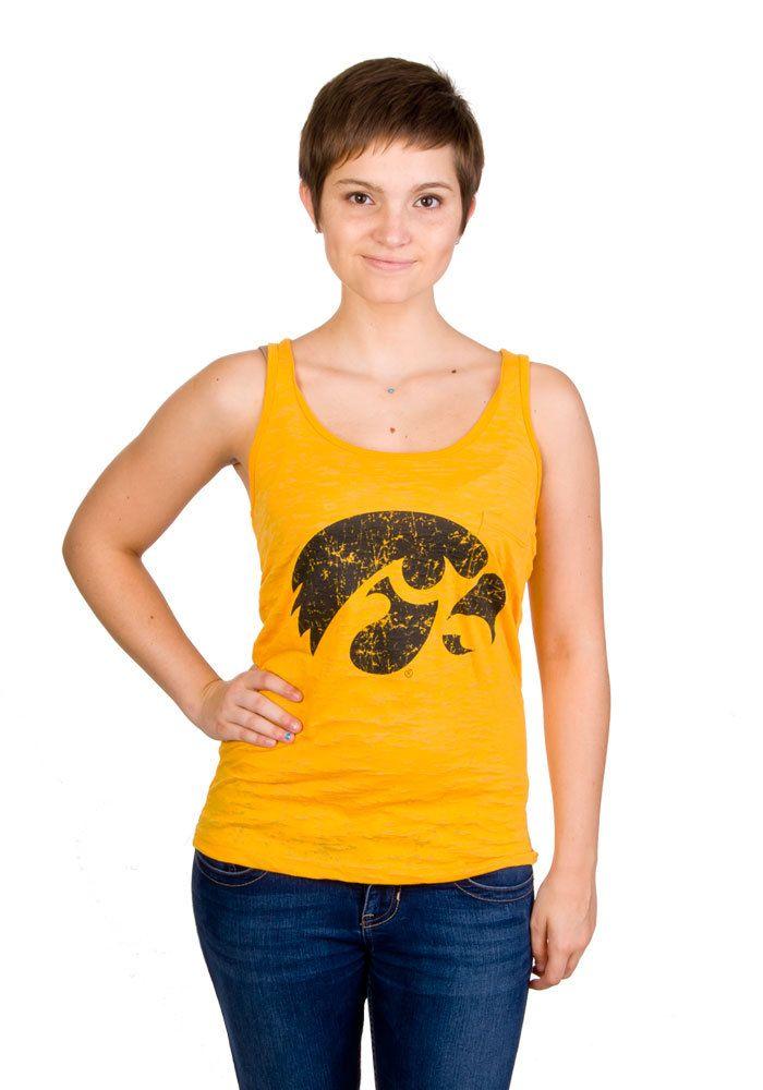 Iowa Hawkeyes Junior Womens Gold Mascot Burnout Pocket Tank