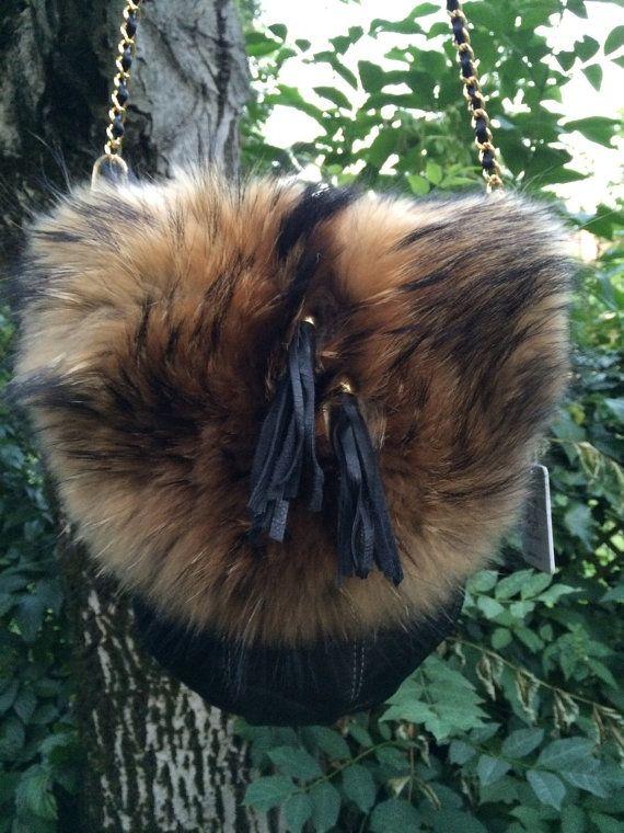 Bag Handbag Shoulder Bag Real Raccoon Fur Crossbody Cowhide Leather Real Fur…