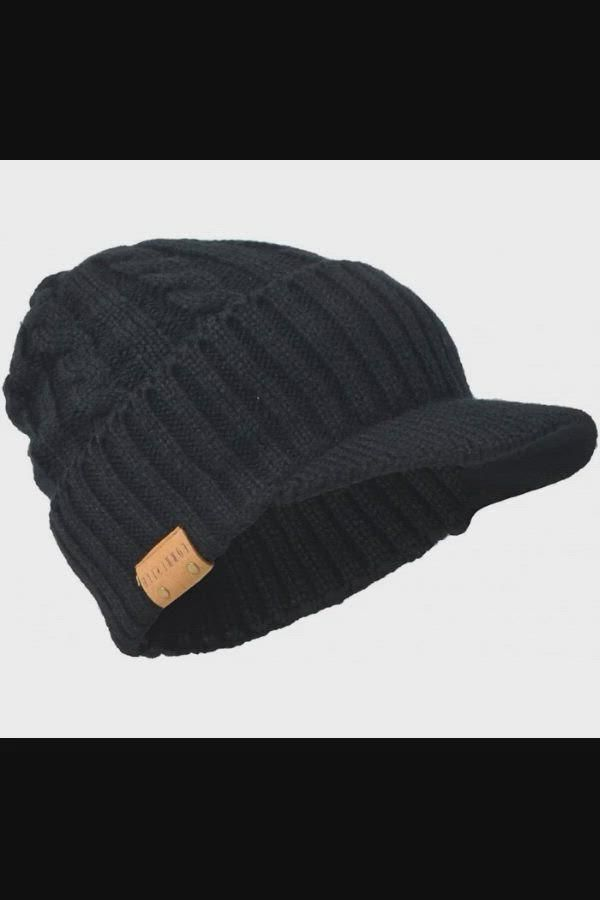 11 14 Retro Newsboy Knitted Hat With Visor Bill Winter Warm Hat For Men Cable Black Cy187c Video In 2021 Warm Hat Hat For Man Knitted Hats