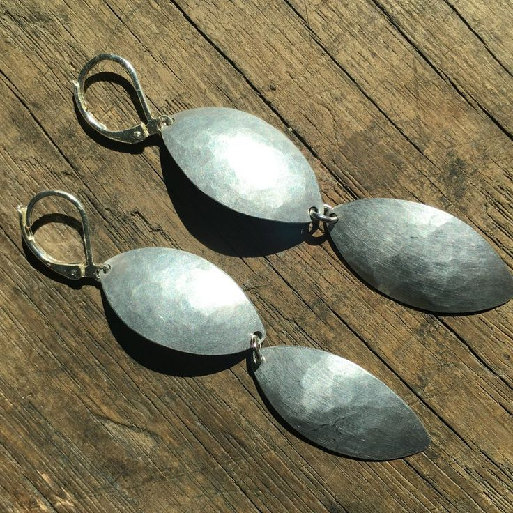 The 2-inch double leaf reclaimed aluminum earrings handmade by G2G. Find them at www.explorelocaluniverse.com!