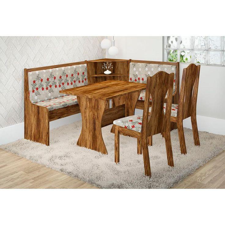 Conjunto de Mesa de Jantar Canto Alemanha Avelã/Floral Cravo + Cadeira Star - Viero Móveis