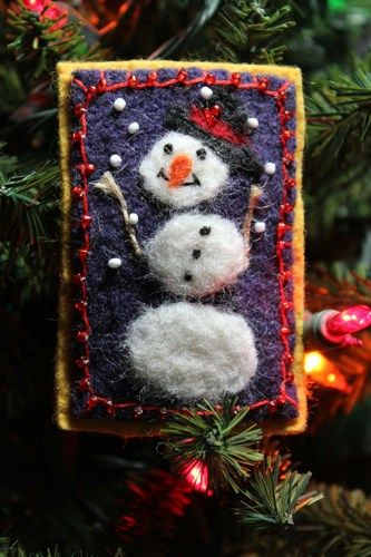 Happy Snowman Lapel Pin Hand Felted And Beaded   @wyverndesigns - Seasonal on ArtFire