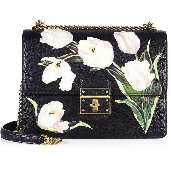 Dolce & Gabbana Rosalia Large Tulip-Print Leather Chain Shoulder Bag found on Polyvore featuring bags, handbags, shoulder bags, bolsos, handbag's, apparel & accessories, white tulip, leather purses, shoulder handbags and man bag