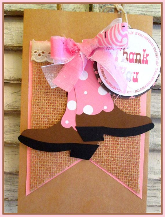 Cowgirl Gift Bags with Tags Set of 6