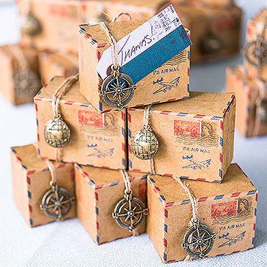 Vintage Inspired Airmail Favor Box Kit Wedding Favor