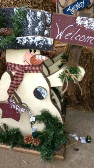 Tall rustic Christmas wood craft. Snowman wood craft.