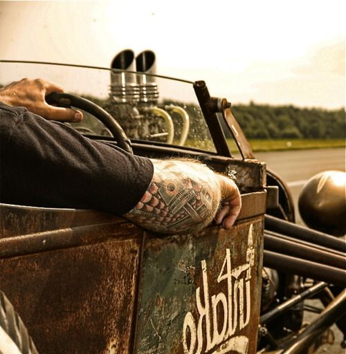Hot Rod Culture at it's finest.  Rat-rod-driving, tatted-up counter culture; it's my inner self