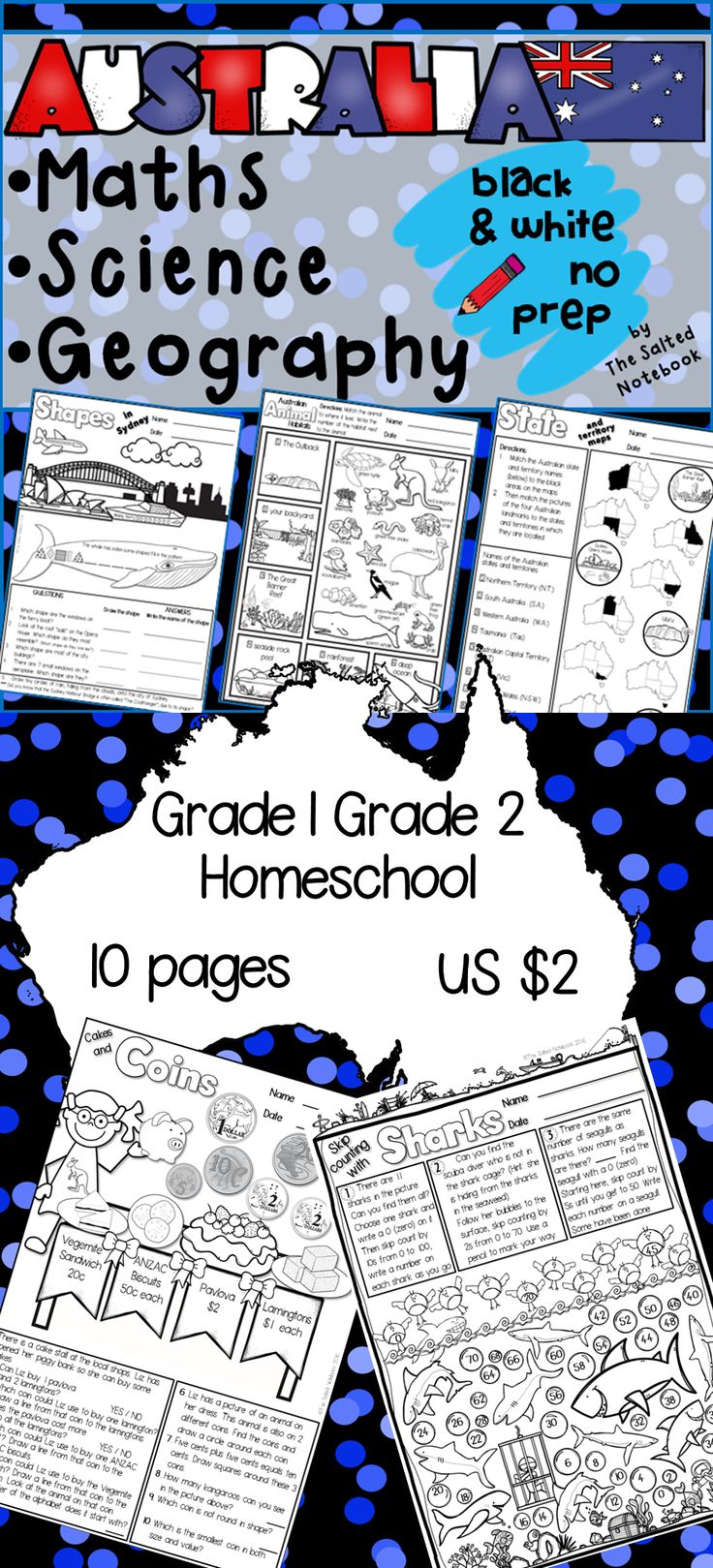 10 black and white, no prep, maths, science & geography worksheets, plus answer sheets. The activities incorporate Australian cultural themes and use Australian spelling, terminology and money. The majority of the activities are aligned to the grade 1 Australian curriculum content descriptions, however some of the activities may be suitable for children up to grade 3 level.