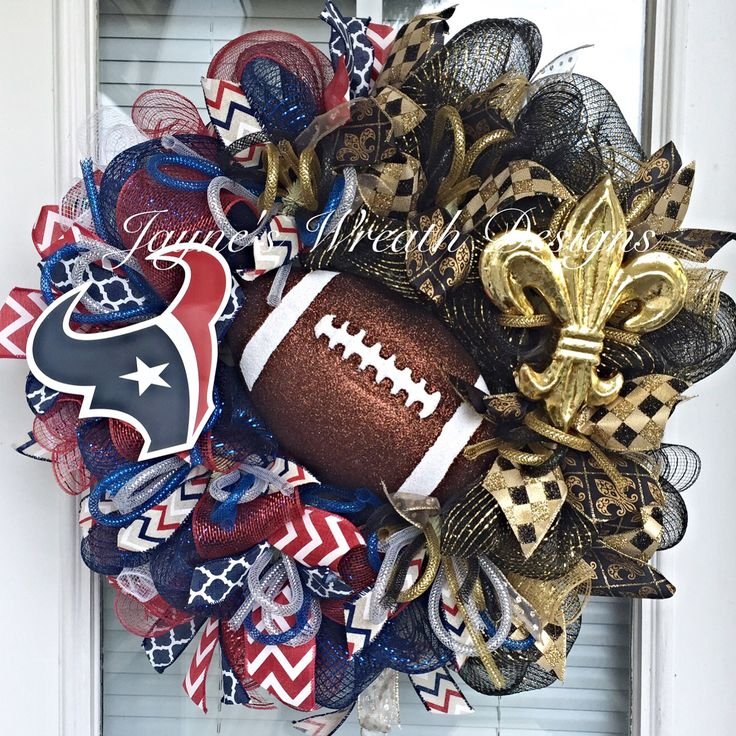 House Divided Houston Texans/ New Orleans Saints Football Wreath with Fleur de Lis and Toro   Jayne's Wreath Designs on FB and Instagram
