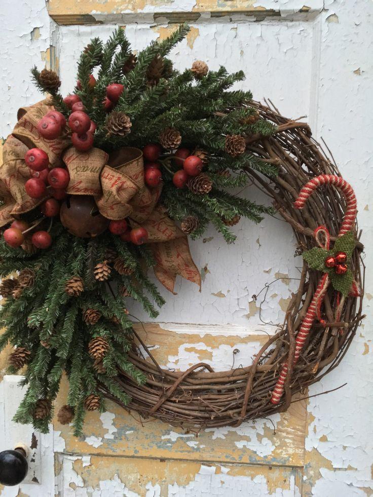 Christmas Primitive Wreath, Holiday Primitive Wreath, Candy Cane Wreath, Etsy Wreath by FlowerPowerOhio on Etsy