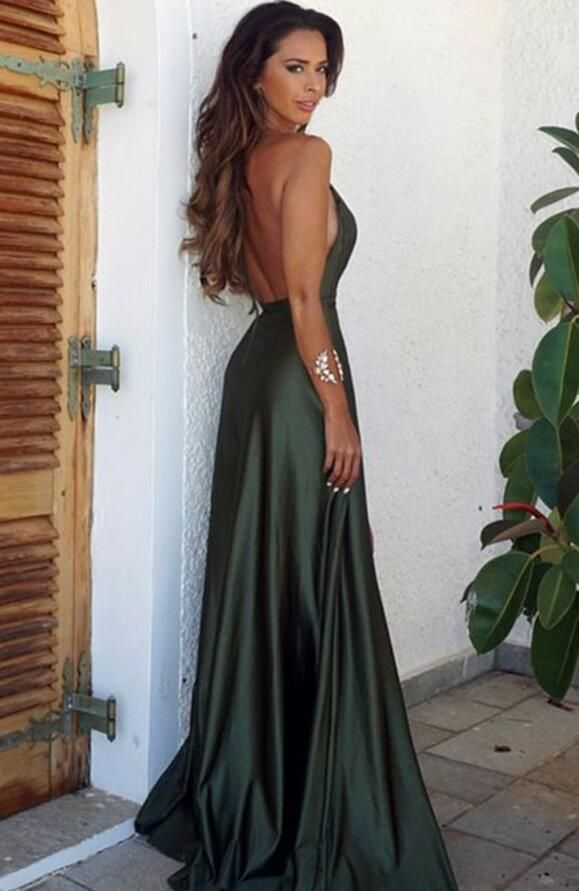 Elegant Simple Prom Dress,Sexy Backless Split Prom Dress,Cheap